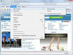 Menus Internet Explorer 7 vue 3