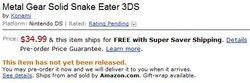 Amazon prix jeux 3DS - MGS 3