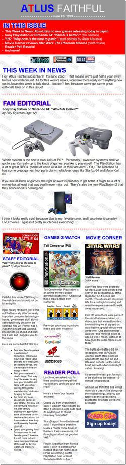 Atlus Faithful newsletter - 23 juin 1999