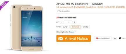 Xiaomi Mi5 gold Gearbest