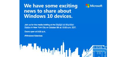Microsoft Windows 10 invitation octobre