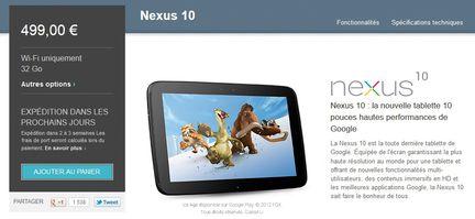 Nexus 10 dispo