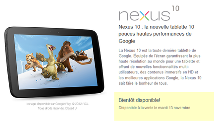 Nexus 10 commandes