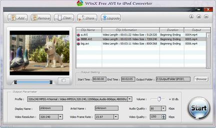 WinX AVI To iPod Converter screen 1