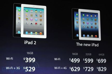 Apple iPad new tarifs