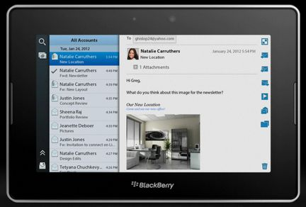 PlayBook OS 2 messagerie
