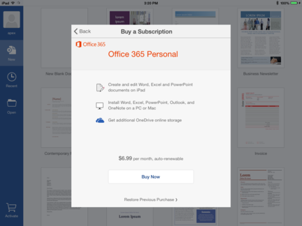 Office-pour-iPad-abonnement-mois