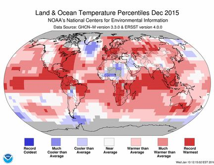 NOAA temperature decembre 2015