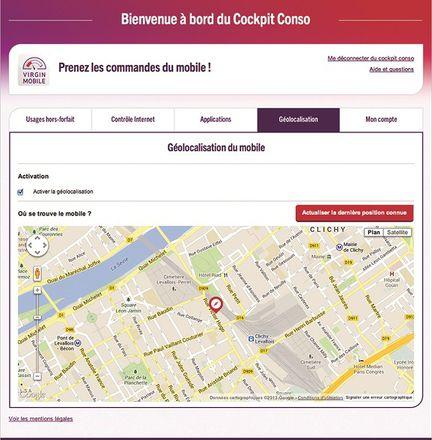Virgin Mobile geolocalisation