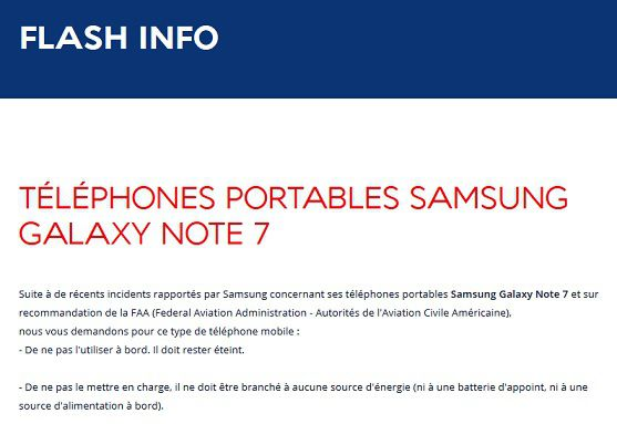 Galaxy Note 7 Air France