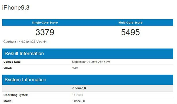 iPhone 7 Apple A10 Geekbench