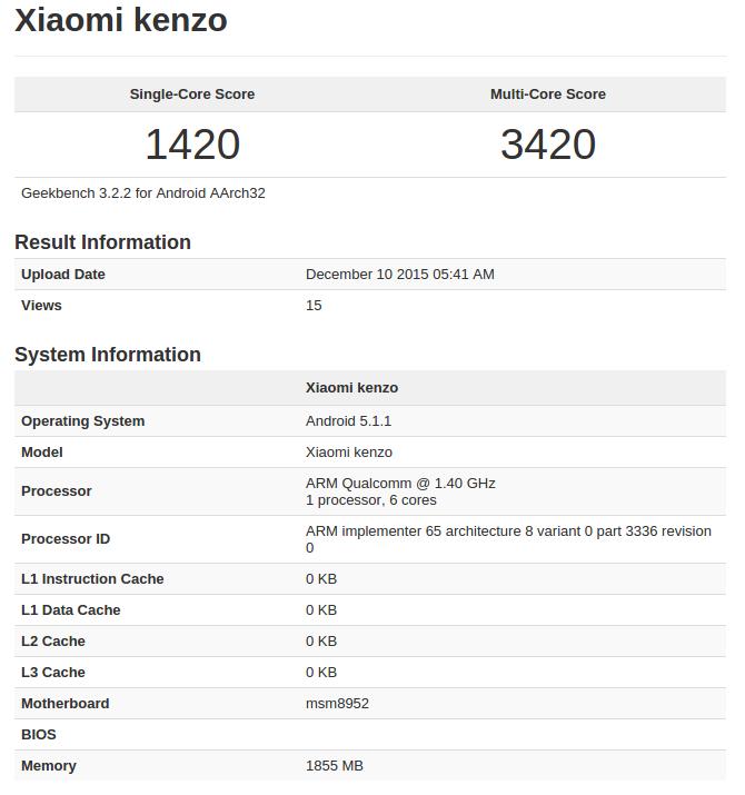 Xiaomi Kenzo Geekbench