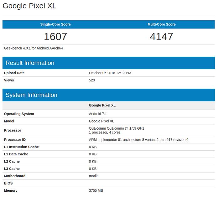 Google Pixel XL benchmark