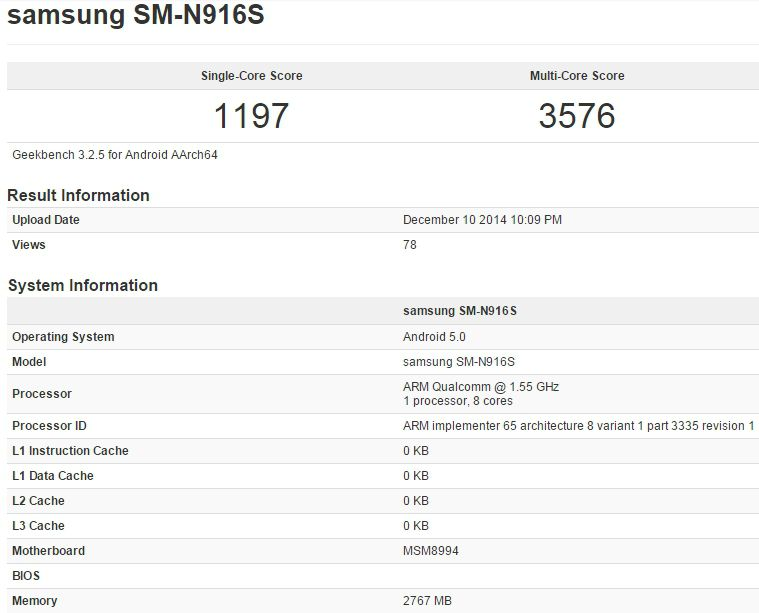 Galaxy Note 4 SnapDragon 810 Geekbench