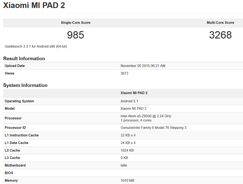 Xiaomi Mi Pad 2 Geekbench