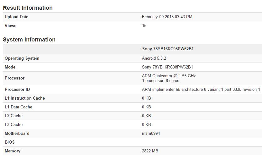 Sony Xperia Z4 Geekbench