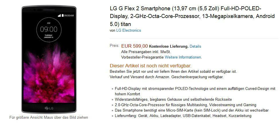 LG G Flex 2 prix