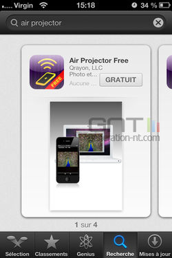 Diffusion photo sans fil iPhone 1