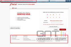 Fausse page connexion Free Mobile