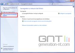 Disque restauration système Windows 7 3
