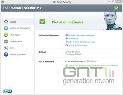 Eset Smart Security 7 accueil