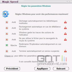 Magic Speed paramètres
