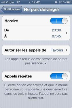 Ne pas dérange iPhone 3