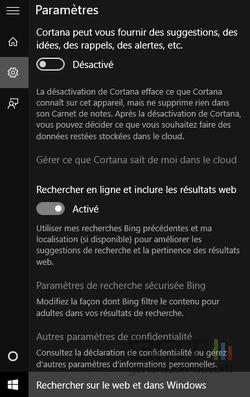 paramètres Cortana