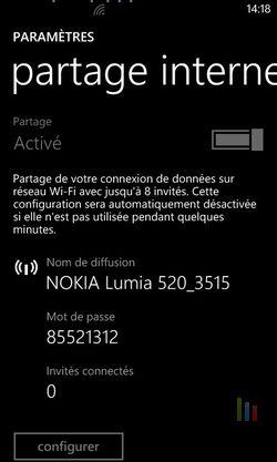 Partage 3G Windows Phone 3