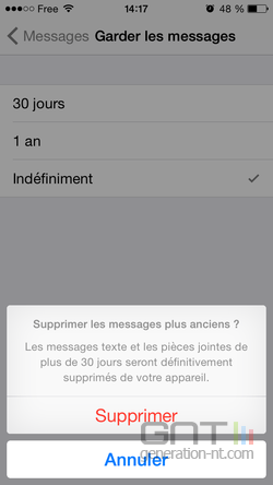 Suppression automatique messages iPhone (3)