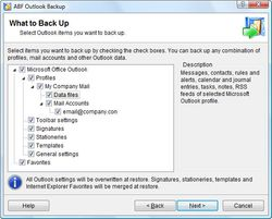 ABF Outlook Backup screen1