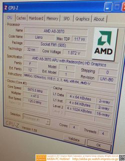 AMD A8-3870K overclocking CPU