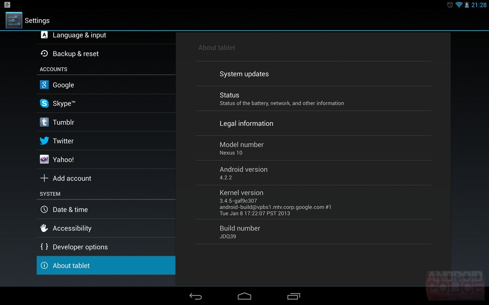 Android 4.2.2 Google Nexus 10