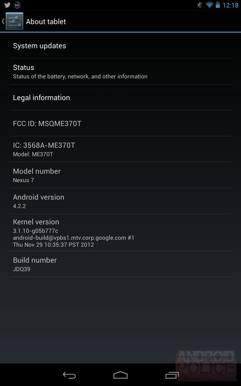 Android 4.2.2 Google Nexus 7