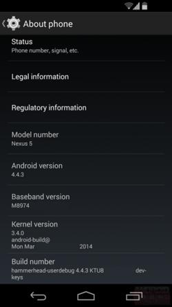 Android KitKat Nexus 5