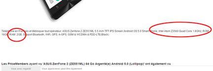 Asus Zenfone 2 arnaque