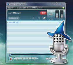 Audio Record Wizard screen