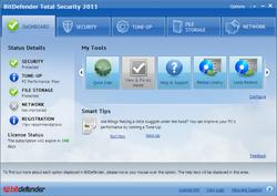 BitDefender Total Security 2011 screen