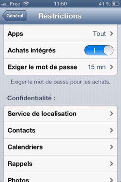 blocage achats iOS
