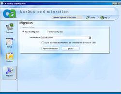 CA Backup and Migration 2009 screen 2