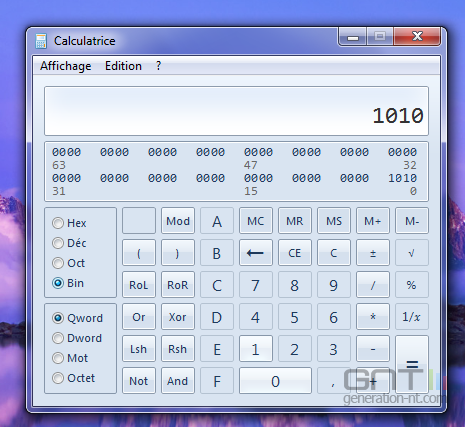 Calculatrice conversion bases 2