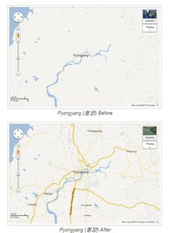 capitale corée nord Google Maps