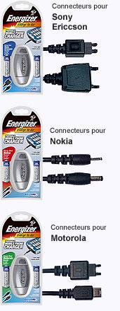 Chargeur energizer connecteurs