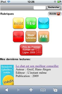 Cyberlibris iPhone Ebook
