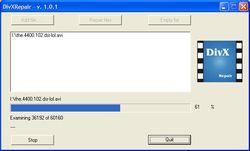 DIVX Repair screen 2