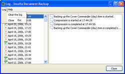 Document Backup screen 3