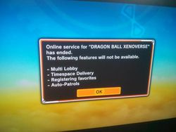 Dragon Ball Xenoverse - message erreur