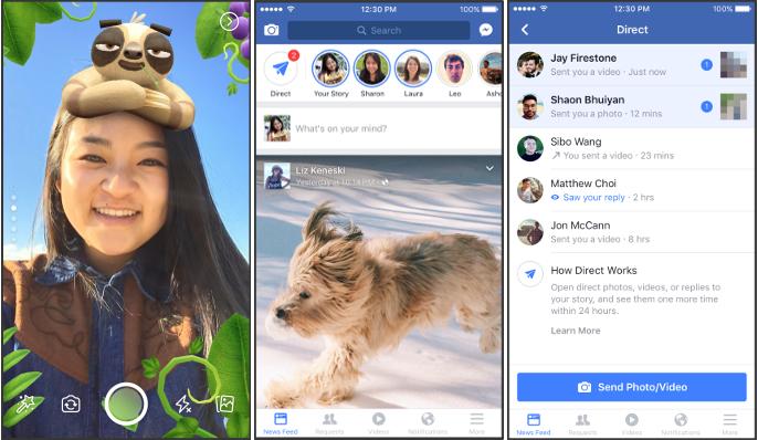 Officiel : des stories et des filtres sur Facebook, exactement comme sur Snapchat