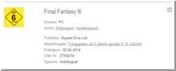Final Fantasy III PC - USK