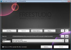 Free Audio to Flash Converter screen